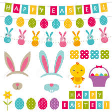 easter photo props easter decoration and photo booth props set royalty free cliparts