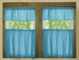 solid turquoise cotton kitchen tier cafe curtains