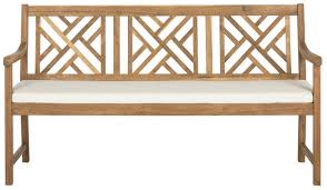 alcott hill stanwich 3 seat acacia and polyester garden bench