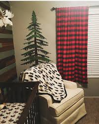 Black And White Buffalo Check Curtains Lumberjack Nursery Nursing Area With Moose Head And Pine Tree