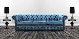 Buy Blue Leather Chesterfield Sofa UK At DesignerSofasU - 4 seat leather sofa
