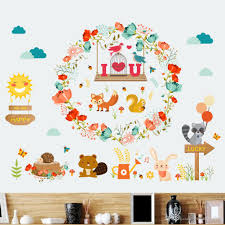 fox home decor i love you flower bear fox rabbit wild animals wall sticker for