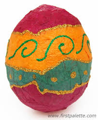 paper easter eggs papier mache easter eggs craft kids crafts firstpalette