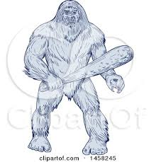 clipart of a bigfoot or sasquatch holding a club in blue sketch