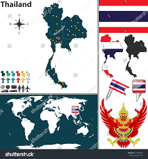 World Map Thailand by Vector Map Thailand Regions Coat Arms Stock Vector 177349334