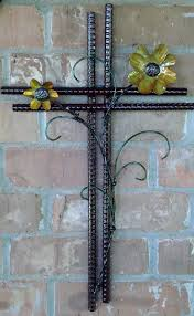 crafted metal wall cross with scroll work flowers crosses