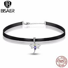 sted necklaces fashion tattoo chocker 925 sterling silver dragonfly pendant