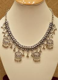silver jewellery necklace sets images Designer silver oxidised necklace for women collection catalog jpg