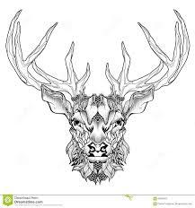 deer head tattoo psychedelic zentangle style stock vector