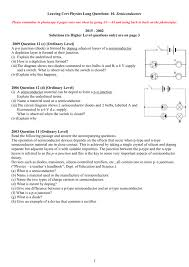 leaving cert physics questions 10 semiconductors