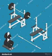 isometric gym equipment gym workout equipment stock vector