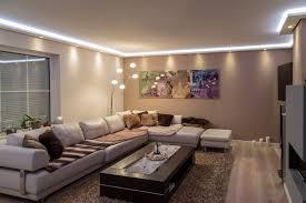 Wohnzimmerm El Mit Led Stuckleisten Lichtprofil Für Indirekte Led Beleuchtung Von Wand