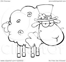 clipart of a black and white st patricks day sheep with a top hat