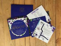 sts for wedding invitations blue green violet purple wedding invitation suite by ink