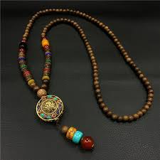 beaded pendant necklace designs images New design nepal vintage wood beads necklaces for women men long jpg