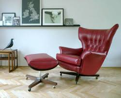 Living Room Chairs And Ottomans by Red Leather Swivel Chairs With Ottoman For Vintage Living Room