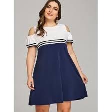 cold shoulder dress blue white 5xl plus size casual cold shoulder dress rosegal