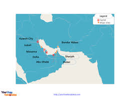 Blank Map Of The Caribbean To Label by Free Persian Gulf U0026 Strait Of Hormuz Map Free Powerpoint Templates