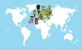Continent World Map by Diversity Concept World Map Group Of People Cartoon Over European