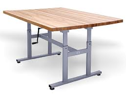 hausmann hand therapy table deluxe crank butcher block work table