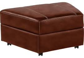fenway heights brown leather storage ottoman leather ottomans