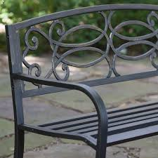 Steel Outdoor Bench Coral Coast Scroll Curved Back 4 Ft Metal Garden Bench Hayneedle