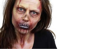 half face halloween makeup ideas halloween zombie face paint tutorial snazaroo youtube