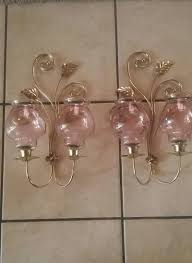 Homco Home Interiors by Homco Home Interior Brass Wall Sconces Double Arm Candle Holders