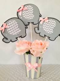 Baby Shower Centerpiece Ideas by Elephant Baby Shower Centerpiece For Girls Pink And Gray Baby