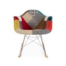 Patchwork Upholstered Furniture - patchwork upholstered eames inspired rar rocking chair