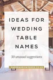 Ideas For Wedding Table Names Ideas For Wedding Table Names