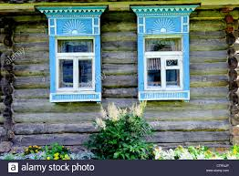 house plat traditional old russian windows carved plat band of wood house