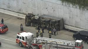 bud light truck driving jobs flipped 18 wheeler spills bud light all over arizona freeway 6abc com