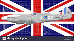 the british union jack flag and fighter aircraft with a heavy stock photo the british union jack flag and fighter aircraft with a heavy grunge effect