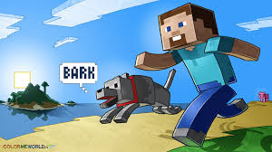 minecraft and coloring pages minecraft steve and his dog