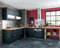 cuisine grise plan de travail noir decoration cuisine et grise
