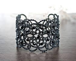 cuff bracelet black images Black lace bracelet black bracelet statement bracelet jpg
