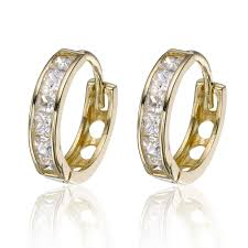 9ct gold earrings 9ct gold cubic zirconia hoop earrings 0000503 beaverbrooks the