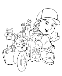 handy manny bike coloring pages for kids printable free coloing