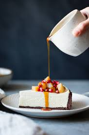 gourmet pears chocolate crusted chèvre cheesecake with earl grey poached pears