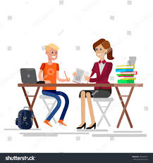 Kid At Desk by Woman Teacher Tutor Tutoring Boy Kid Stock Vector 432624937