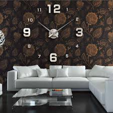 diy large simple digits watch wall clock modern design sticker