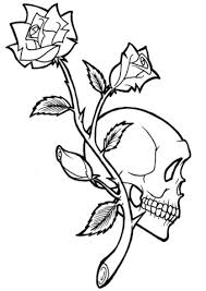 rose skull tattoo coloring free printable coloring pages