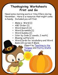 thanksgiving worksheets print and go