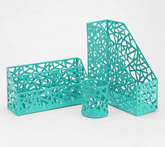 Teal Desk Accessories Get Organized In Style With The Geo Cutout Turquoise Office