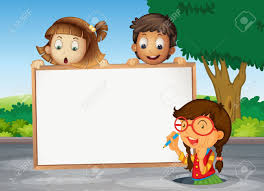 illustration of kids and white board on the road royalty free