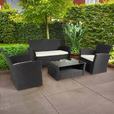 B Q Rattan Garden Furniture 4pc Outdoor Patio Garden Furniture Wicker Rattan Sofa Set Black