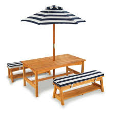 Outdoor Table Umbrella Outdoor Table U0026 Bench Set With Cushions U0026 Umbrella Navy Kidkraft