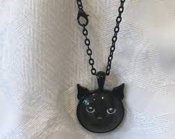 black cat pendant necklace images Cat pendant necklace etsy jpg
