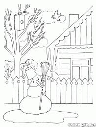 coloring page snowman melts